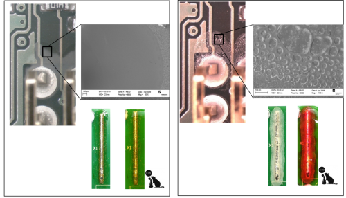 Reference re-flow soldered PCB compared with PCB after 48h at 60C/99%RH